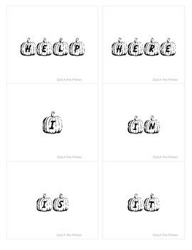 Dolch Pre Primer Sight Word Pumpkin Flash Cards