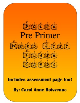 Dolch Pre Primer Sight Word Pumpkin Flash Cards
