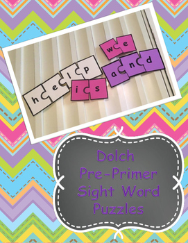 Dolch Pre Primer Sight Word Puzzles