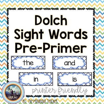 Dolch Pre-Primer Sight Word Rings/Word Wall Words/Flash Cards