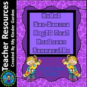 Dolch Pre-Primer Sight Word Sentence Unscramble