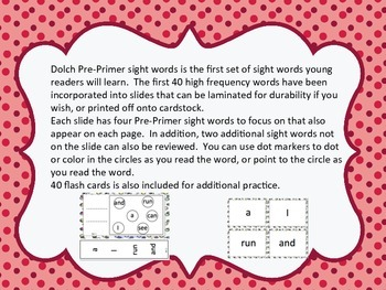 Dolch Pre-Primer Sight Word Slides