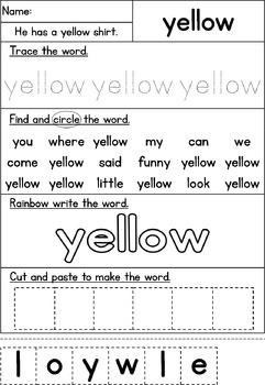 Pre-Primer Sight Word Work
