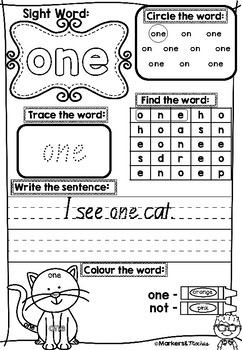 Dolch Pre Primer Sight Word Workbook 2 ~ QLD Font