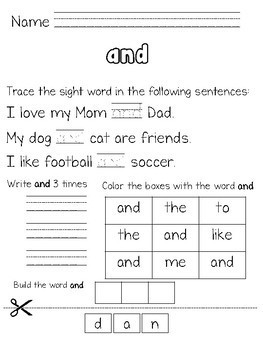 Dolch Pre Primer Sight Word Word Work
