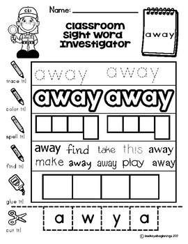 Dolch Pre-Primer Sight Word Worksheets: Classroom Sight Word Investigators