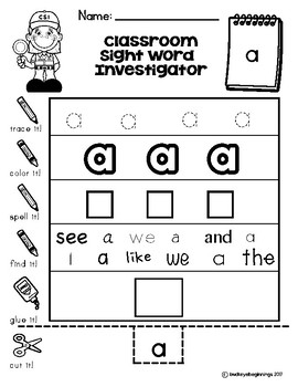 Dolch Pre-Primer Sight Word Worksheets: Distance Learning