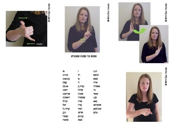 Dolch Pre-Primer Sight Words (ASL) Sign Language Cards