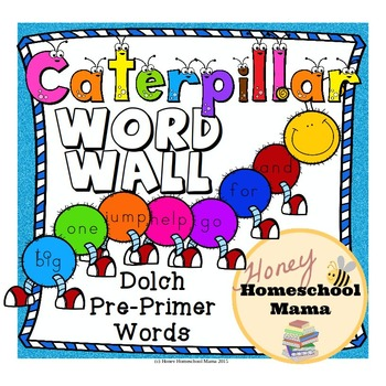 Dolch Pre-Primer Sight Words Caterpillar Word Wall