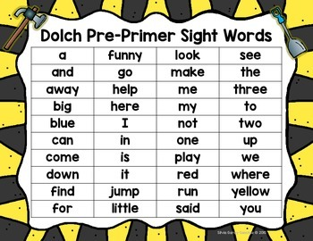 Dolch Pre Primer Constructing Sight Words  Mats