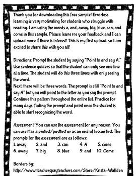 Dolch Pre-Primer Sight Words Error-less Reading **SAMPLE**
