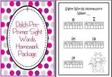 Dolch Pre-Primer Sight Words Homework Package Folder