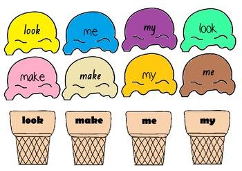 Pre-Primer Sight Words - Ice cream theme