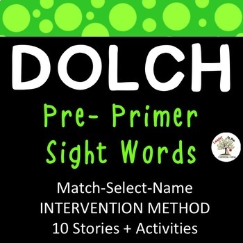 Dolch Sight Word INTERVENTION Pre-Primer (Down Syndrome, special ed., RTI)