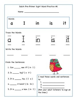 Dolch Pre-Primer Sight Words Practice Pack
