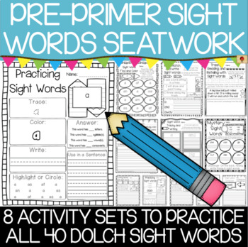 Dolch Pre-Primer Sight Words Practice Pages