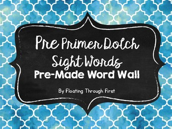 Dolch Pre-Primer Sight Words Pre-Made Word Wall