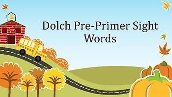 Dolch Pre-Primer Sight Words Presentation