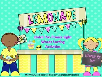 Dolch Pre-Primer Sight Words Sorting Activity (Lemonade Stand Themed)