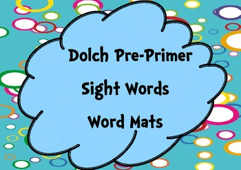 Pre-Primer Sight Words Word Mats