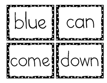 Dolch Pre-Primer Sight Words, Word Wall Cards