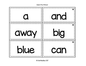 Dolch Pre-Primer Sight Words - Word Wall, Flash Cards