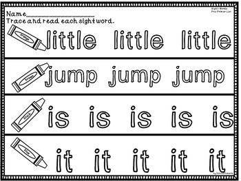 Dolch Pre Primer Sight Words Worksheets and Centers
