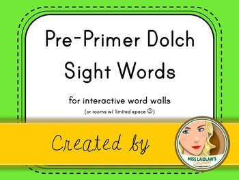 Dolch Pre-Primer Sight Words for Word Walls and Games (Neon Green)