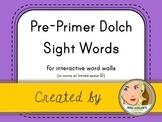 Dolch Pre-Primer Sight Words for Word Walls and Games (Purple)