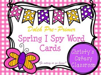 Dolch Pre-Primer Spring I Spy Word Cards