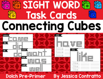 Dolch Pre-Primer Task Cards: Connecting Cubes