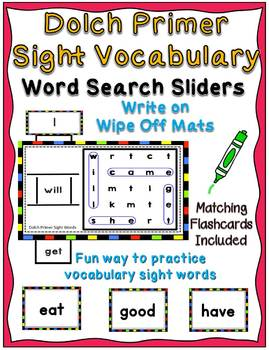 Dolch Pre Primer - Third Grade Sight Vocabulary Word Search Sliders Bundle
