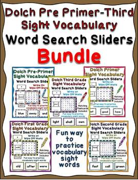 Dolch Pre Primer - Third Grade Sight Vocabulary Word Searc