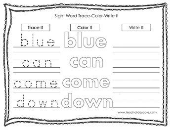 Dolch Pre-Primer Trace, Color, Write worksheets.  Preschool sight word activity.
