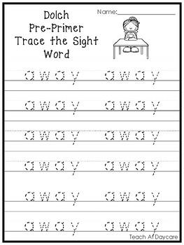 Dolch Pre-Primer Trace the Word Printable Worksheets in a PDF file.PreK-KDG.