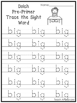 Dolch Pre-Primer Trace the Word Printable Worksheets in a PDF file.PreK-KDG.