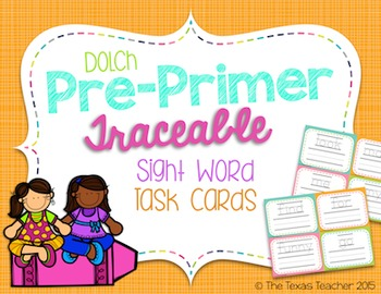 Dolch Pre-Primer Traceable Sight Word Task Cards