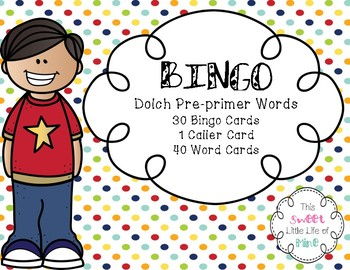 Dolch Pre-Primer Word Bingo
