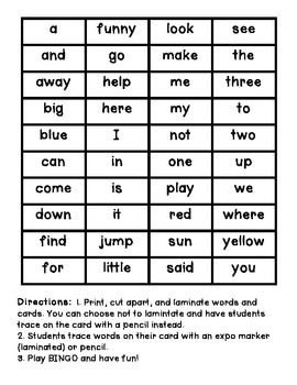 Sight Word Bingo Trace and Play (Dolch Pre Primer)