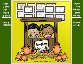 Dolch Pre Primer Word Boxes on Autumn Task Cards (Black & White)