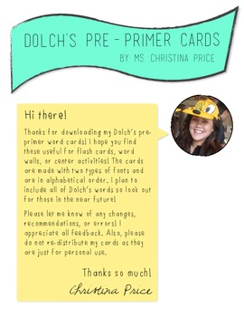 Dolch Pre-Primer Word Cards