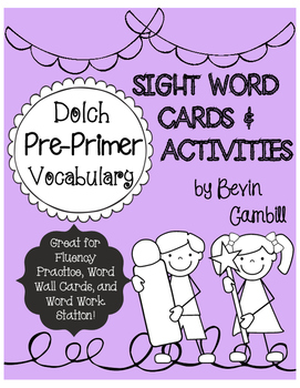 Dolch Pre-Primer Word Cards and Activities