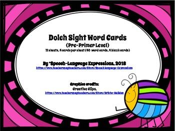 Dolch Pre-Primer Word Cards (spring, bugs) [FREE]