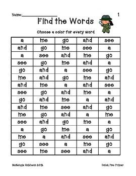 Dolch Pre-Primer Word Find & Color
