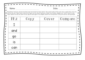 Dolch Pre-Primer Word Practice in Sentence Context and Copy, Cover, Compare