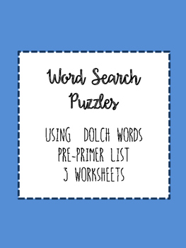 Dolch Pre-Primer Word Search Puzzles