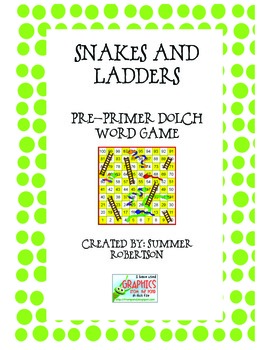 Dolch Pre-Primer Word Snakes and Ladders Game
