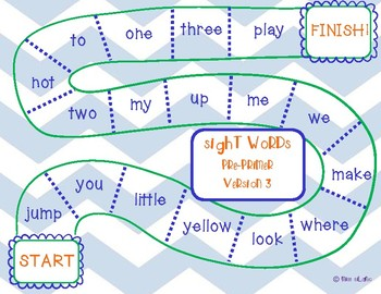 Dolch Pre-Primer Sight Words Game Boards
