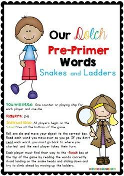 Dolch Pre-Primer Words Snakes and Ladders Games
