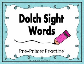 Dolch Pre-Primer Worksheets